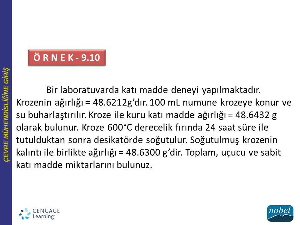 Bir laboratuvarda katı madde deneyi yapılmaktadır. Krozenin ağırlığı = 48.6212g'dır. 100 mL numune krozeye konur ve su buharlaştırılır. Kroze ile kuru