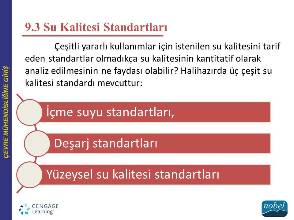 9.3 Su Kalitesi Standartları Çeşitli yararlı kullanımlar için istenilen su kalitesini tarif eden standartlar olmadıkça su kalitesinin kantitatif olara