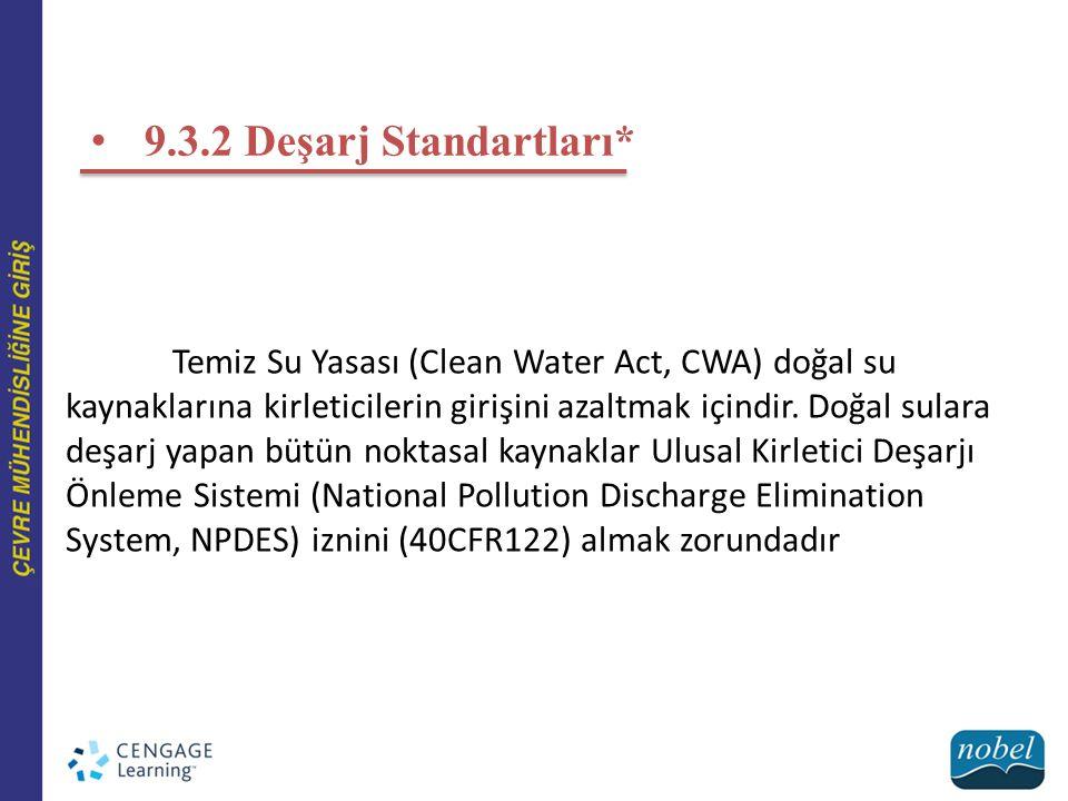 9.3.2 Deşarj Standartları* Temiz Su Yasası (Clean Water Act, CWA) doğal su kaynaklarına kirleticilerin girişini azaltmak içindir. Doğal sulara deşarj