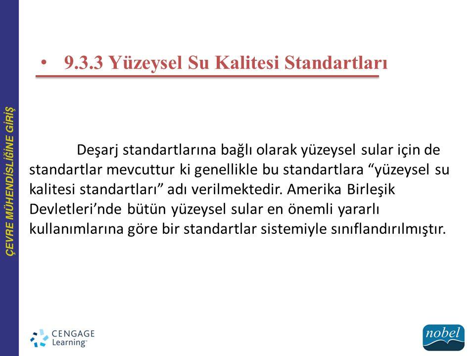 9.3.3 Yüzeysel Su Kalitesi Standartları Deşarj standartlarına bağlı olarak yüzeysel sular için de standartlar mevcuttur ki genellikle bu standartlara yüzeysel su kalitesi standartları adı verilmektedir.