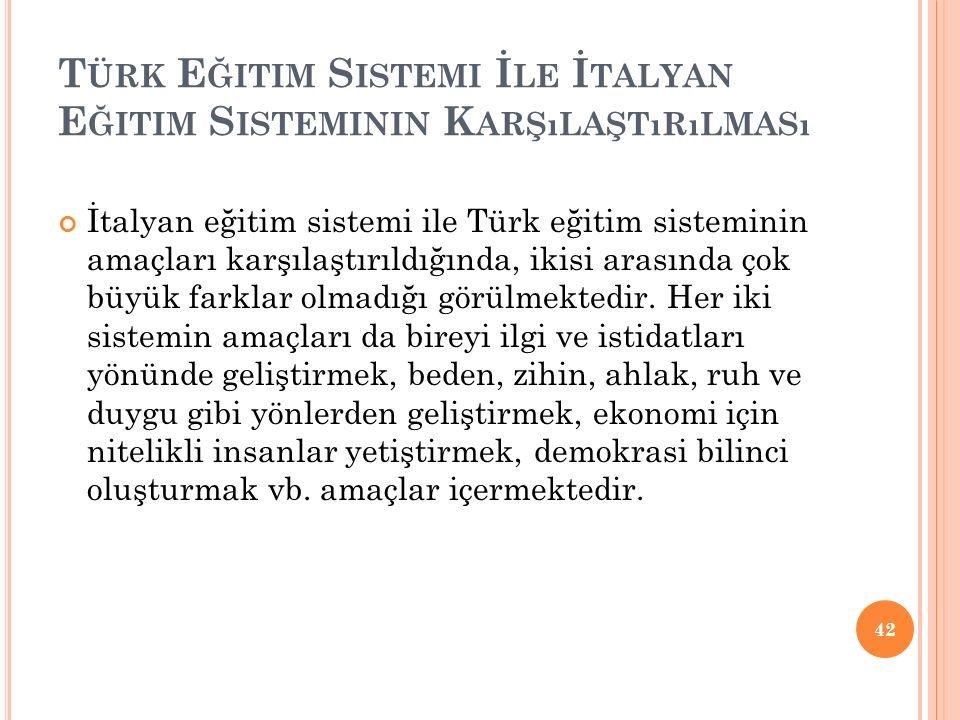 T ÜRK E ĞITIM S ISTEMI İ LE İ TALYAN E ĞITIM S ISTEMININ K ARŞıLAŞTıRıLMASı İtalyan eğitim sistemi ile Türk eğitim sisteminin amaçları karşılaştırıldı