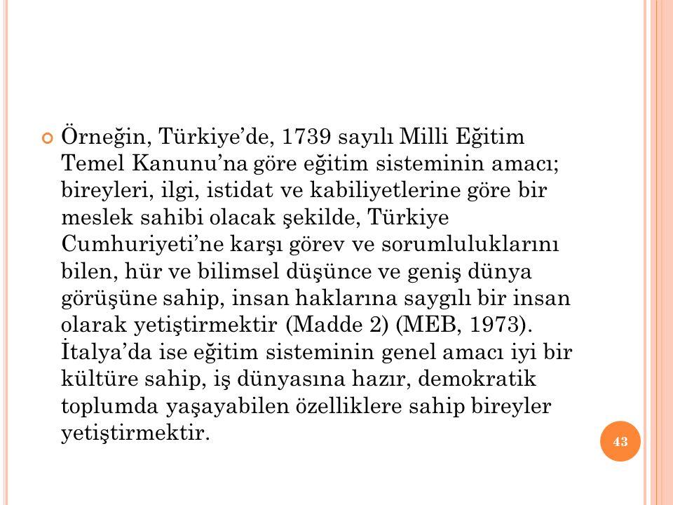 Örneğin, Türkiye'de, 1739 sayılı Milli Eğitim Temel Kanunu'na göre eğitim sisteminin amacı; bireyleri, ilgi, istidat ve kabiliyetlerine göre bir mesle