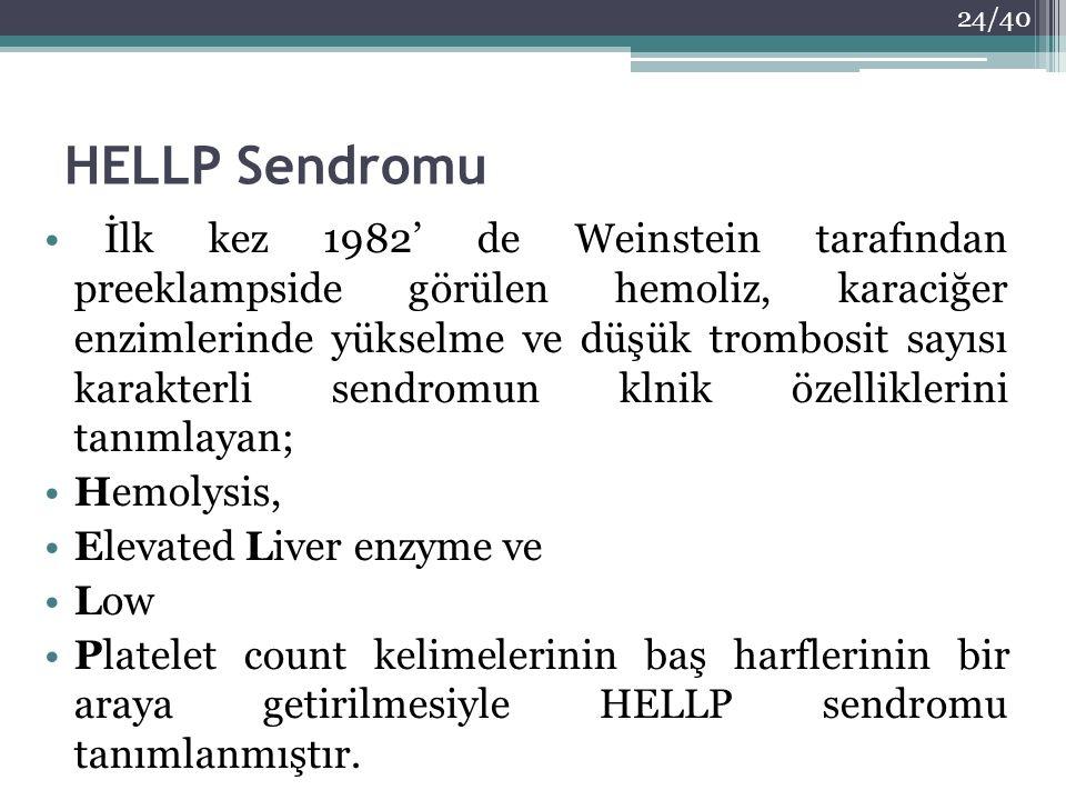 HELLP Sendromu İlk kez 1982' de Weinstein tarafından preeklampside görülen hemoliz, karaciğer enzimlerinde yükselme ve düşük trombosit sayısı karakter