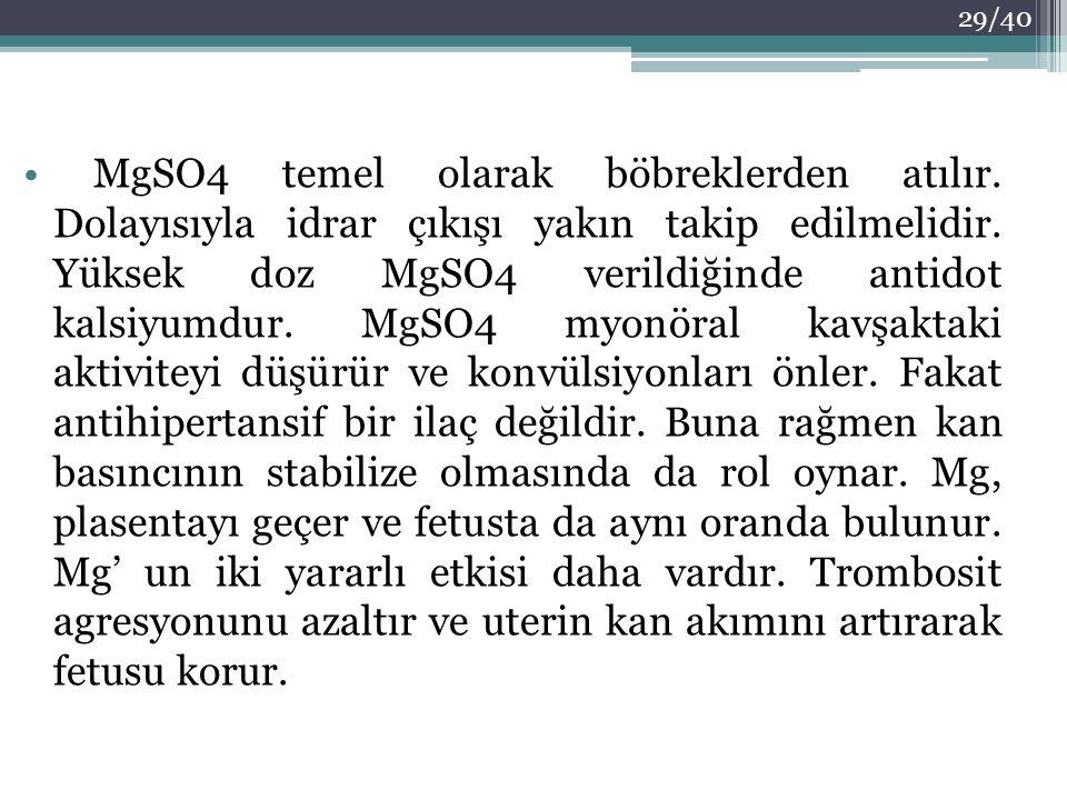 MgSO4 temel olarak böbreklerden atılır. Dolayısıyla idrar çıkışı yakın takip edilmelidir. Yüksek doz MgSO4 verildiğinde antidot kalsiyumdur. MgSO4 myo
