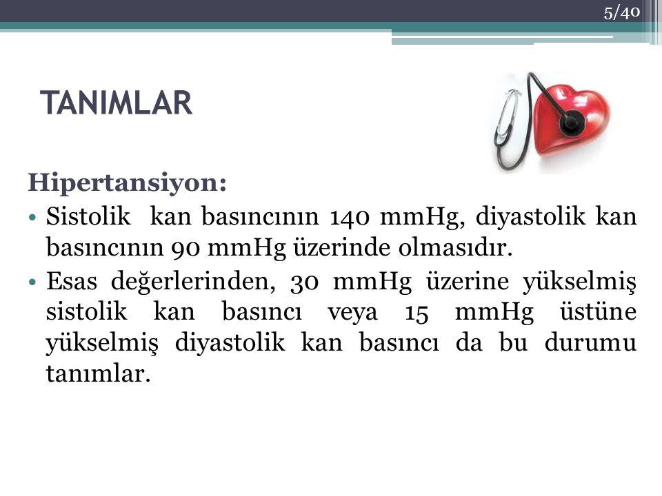 TANIMLAR Hipertansiyon: Sistolik kan basıncının 140 mmHg, diyastolik kan basıncının 90 mmHg üzerinde olmasıdır. Esas değerlerinden, 30 mmHg üzerine yü