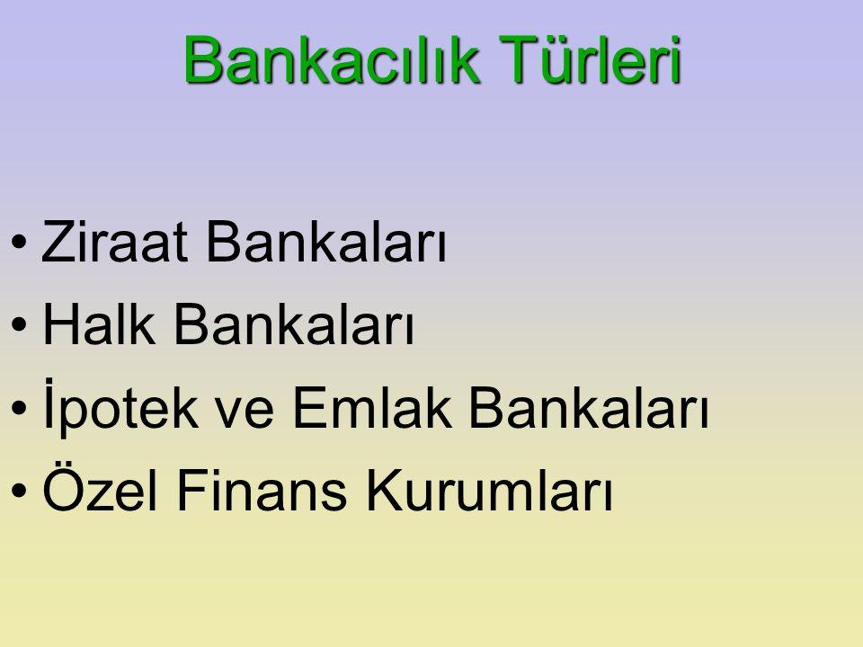 Bankacılık Türleri Ziraat Bankaları Halk Bankaları İpotek ve Emlak Bankaları Özel Finans Kurumları