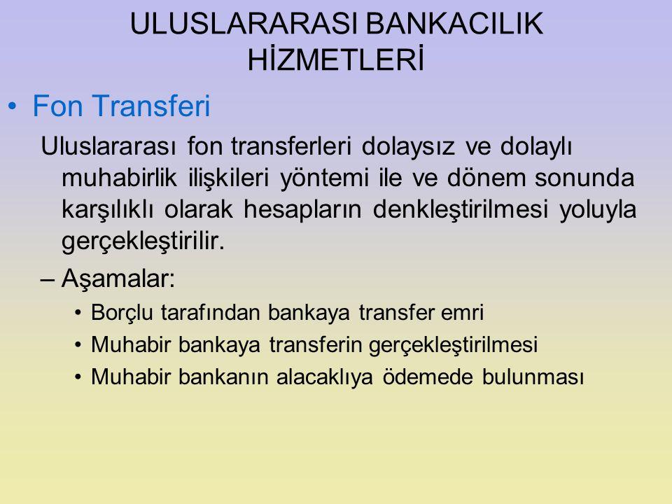 ULUSLARARASI BANKACILIK HİZMETLERİ Fon Transferi Uluslararası fon transferleri dolaysız ve dolaylı muhabirlik ilişkileri yöntemi ile ve dönem sonunda