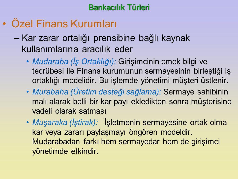 Bankacılık Türleri Özel Finans Kurumları –Kar zarar ortalığı prensibine bağlı kaynak kullanımlarına aracılık eder Mudaraba (İş Ortaklığı): Girişimcini