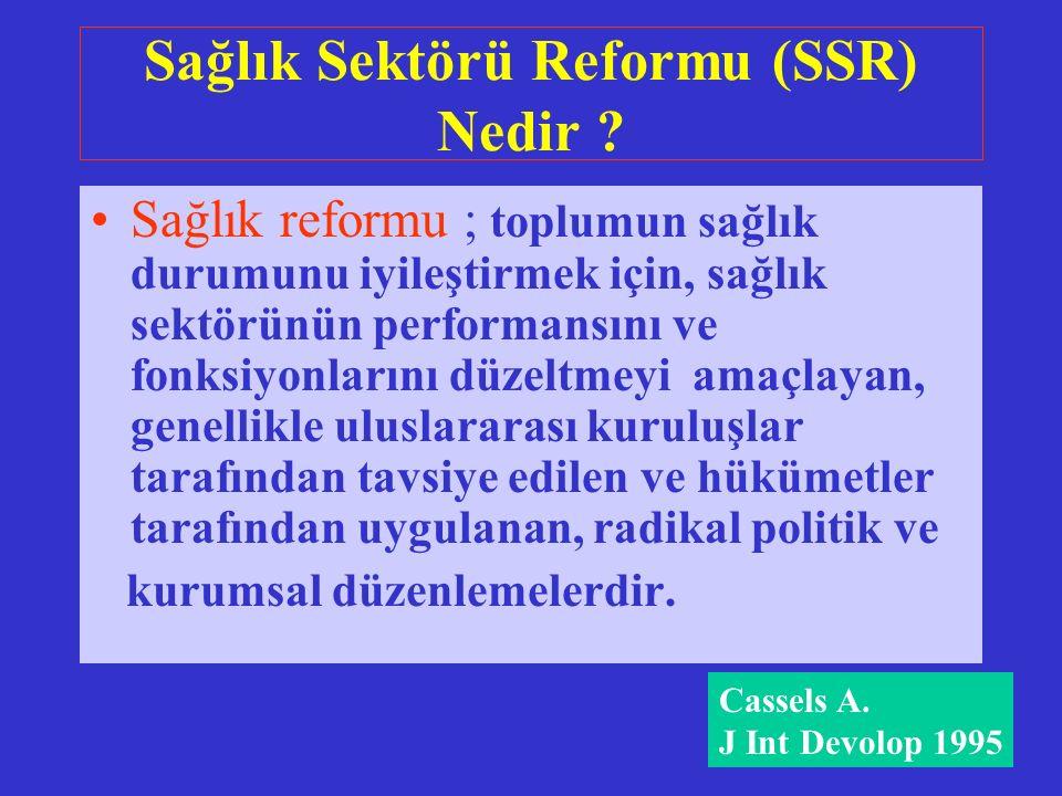 Sağlık Sektörü Reformu (SSR) Nedir .