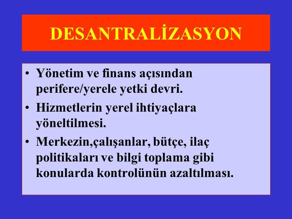 DESANTRALİZASYON Yönetim ve finans açısından perifere/yerele yetki devri.