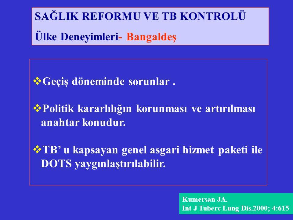 Kumersan JA. Int J Tuberc Lung Dis.2000; 4:615  Geçiş döneminde sorunlar.