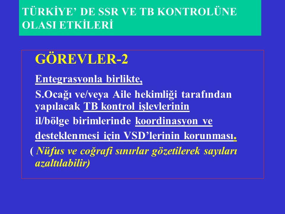GÖREVLER-2 Entegrasyonla birlikte, S.Ocağı ve/veya Aile hekimliği tarafından yapılacak TB kontrol işlevlerinin il/bölge birimlerinde koordinasyon ve desteklenmesi için VSD'lerinin korunması.