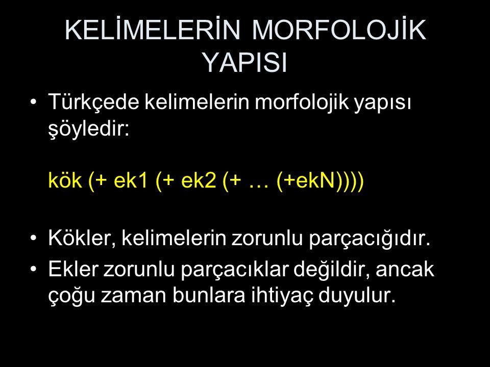 KELİMELERİN MORFOLOJİK YAPISI Türkçede kelimelerin morfolojik yapısı şöyledir: kök (+ ek1 (+ ek2 (+ … (+ekN)))) Kökler, kelimelerin zorunlu parçacığıd