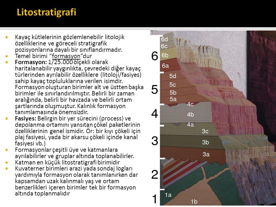 """ Kayaç kütlelerinin gözlemlenebilir litolojik özelliklerine ve göreceli stratigrafik pozisyonlarına dayalı bir sınıflandırmadır.  Temel birimi """"form"""