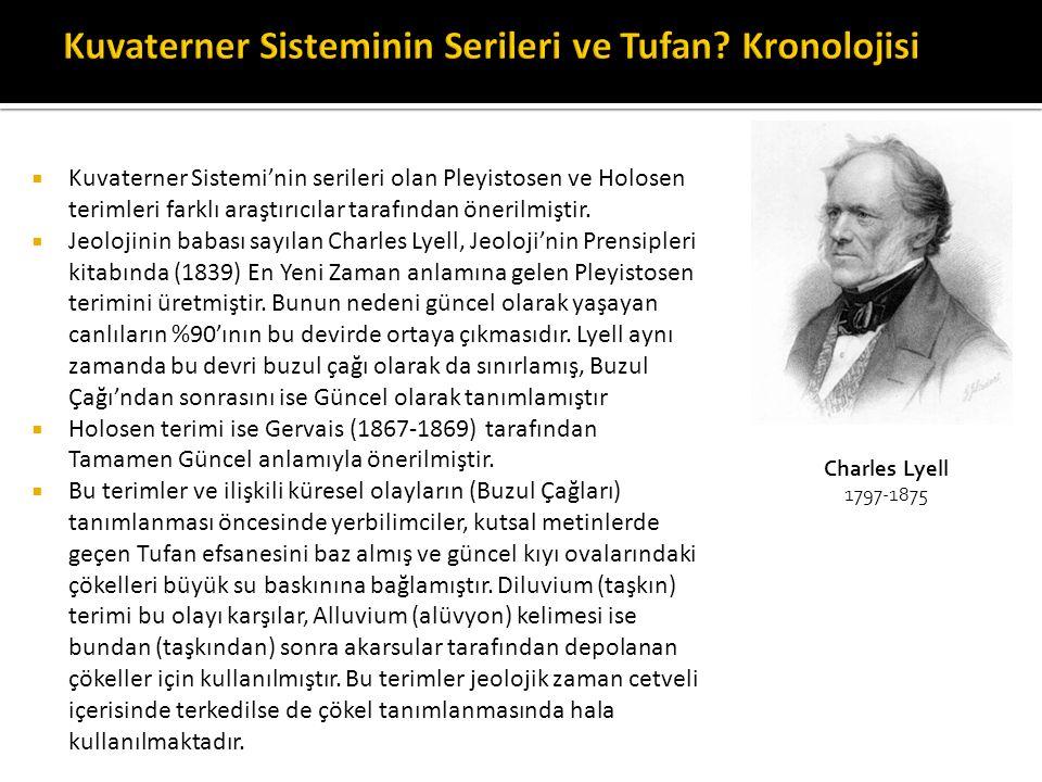  Kuvaterner Sistemi'nin serileri olan Pleyistosen ve Holosen terimleri farklı araştırıcılar tarafından önerilmiştir.  Jeolojinin babası sayılan Char