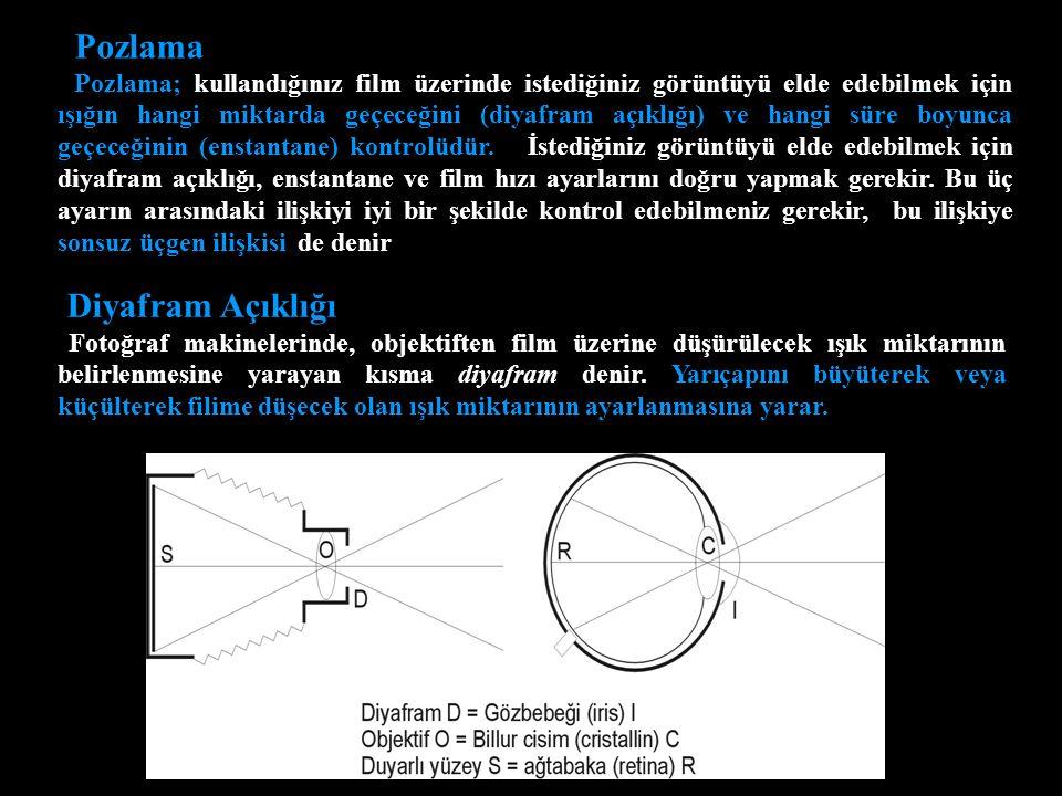 Pozlama Pozlama; kullandığınız film üzerinde istediğiniz görüntüyü elde edebilmek için ışığın hangi miktarda geçeceğini (diyafram açıklığı) ve hangi süre boyunca geçeceğinin (enstantane) kontrolüdür.