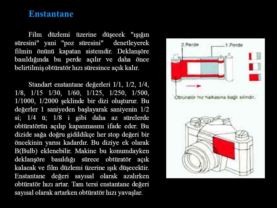 Enstantane Film düzlemi üzerine düşecek ışığın süresini yani poz süresini denetleyerek filmin önünü kapatan sistemdir.