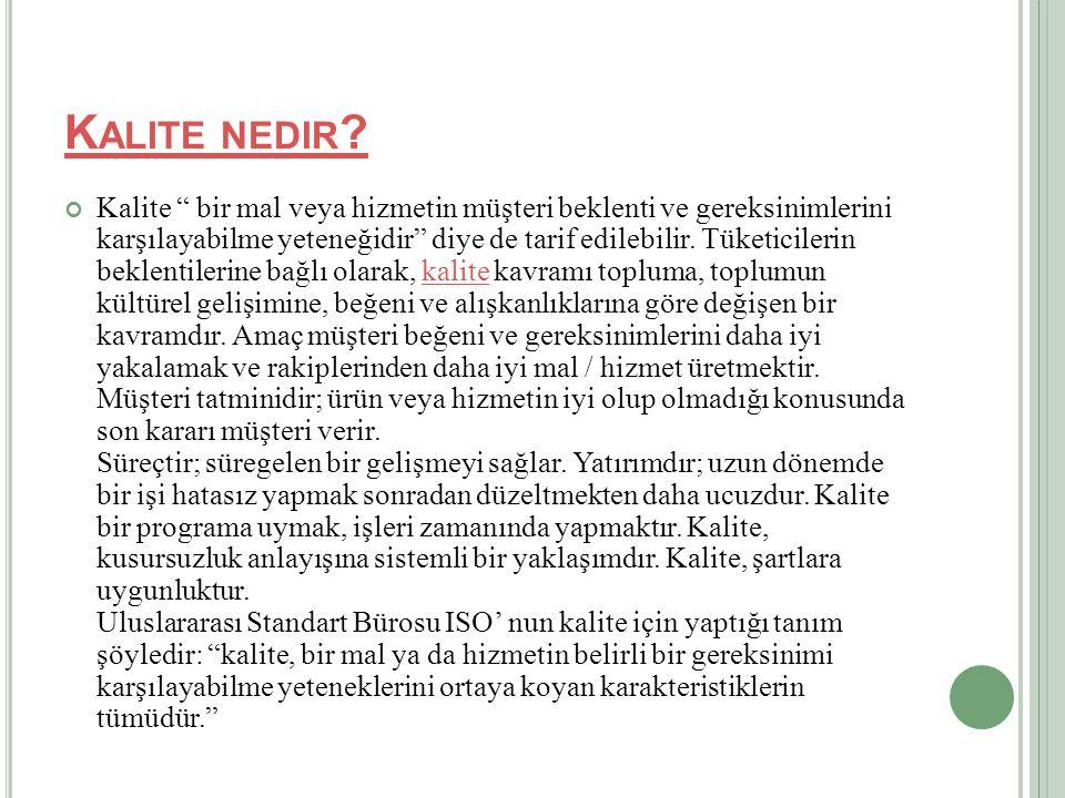 K ALITE NEDIR .
