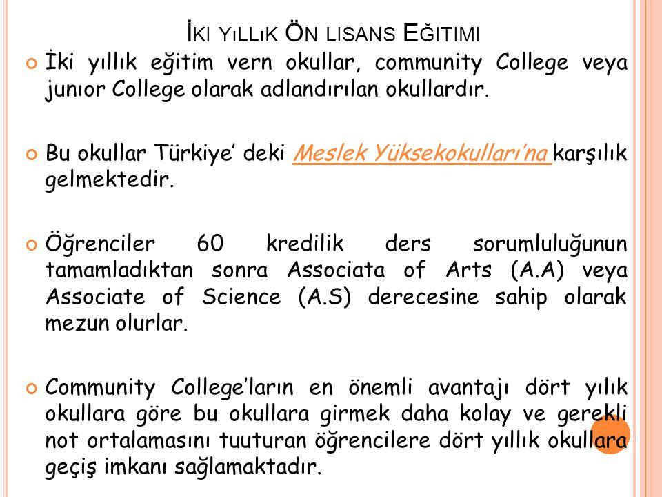 İ KI YıLLıK Ö N LISANS E ĞITIMI İki yıllık eğitim vern okullar, community College veya junıor College olarak adlandırılan okullardır. Bu okullar Türki