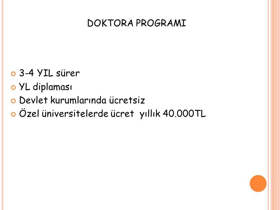 DOKTORA PROGRAMI 3-4 YIL sürer YL diplaması Devlet kurumlarında ücretsiz Özel üniversitelerde ücret yıllık 40.000TL