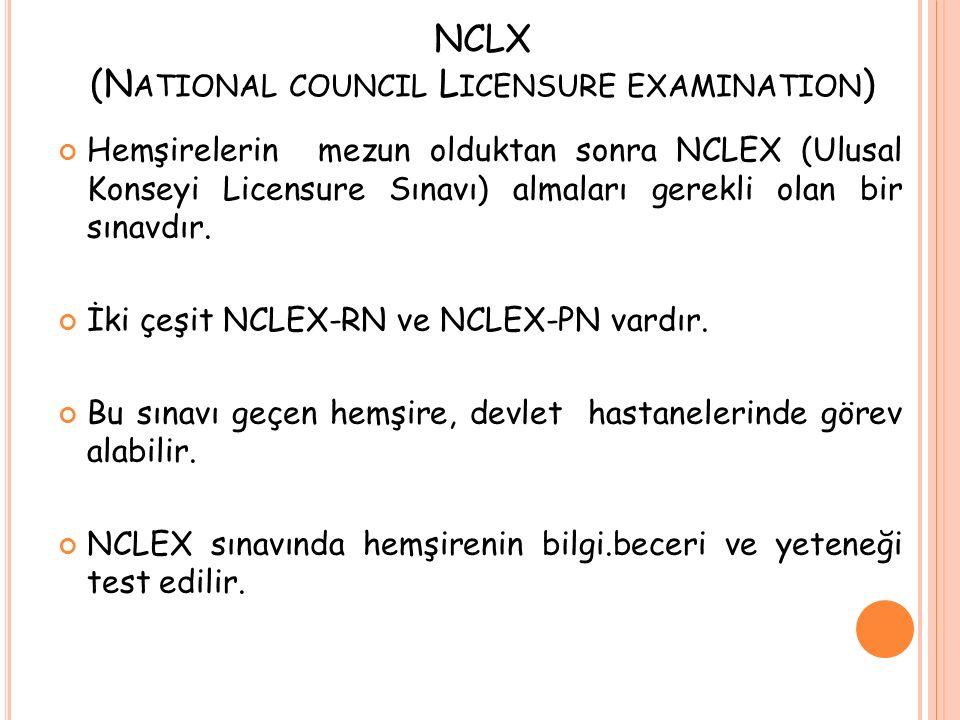 NCLX (N ATIONAL COUNCIL L ICENSURE EXAMINATION ) Hemşirelerin mezun olduktan sonra NCLEX (Ulusal Konseyi Licensure Sınavı) almaları gerekli olan bir s