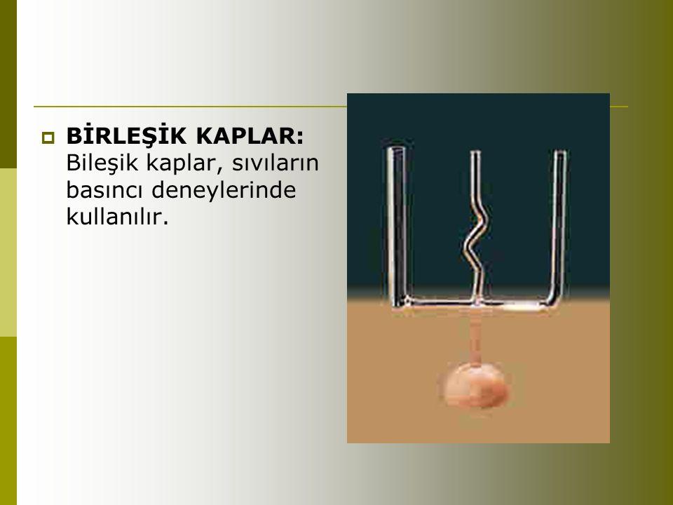  BİRLEŞİK KAPLAR: Bileşik kaplar, sıvıların basıncı deneylerinde kullanılır.