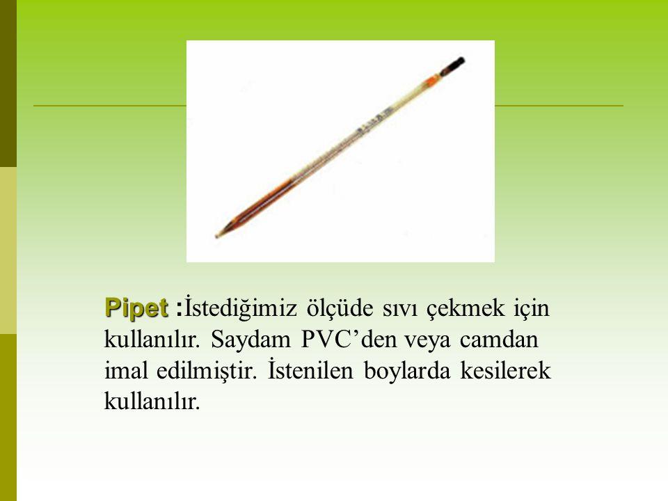 Pipet Pipet : İstediğimiz ölçüde sıvı çekmek için kullanılır.