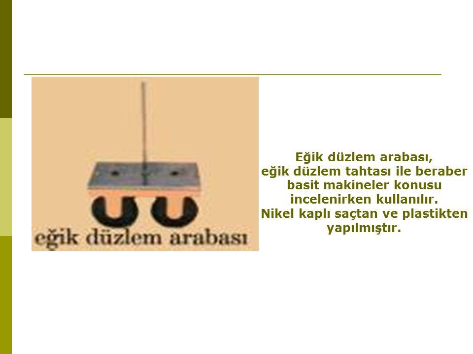 Eğik düzlem arabası, eğik düzlem tahtası ile beraber basit makineler konusu incelenirken kullanılır.