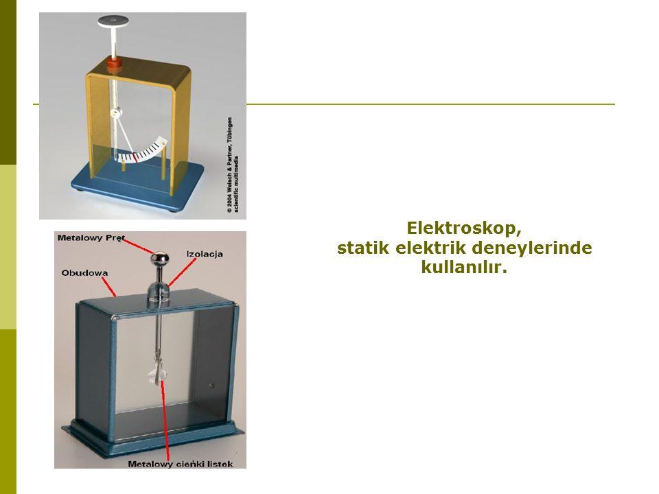 Elektroskop, statik elektrik deneylerinde kullanılır.
