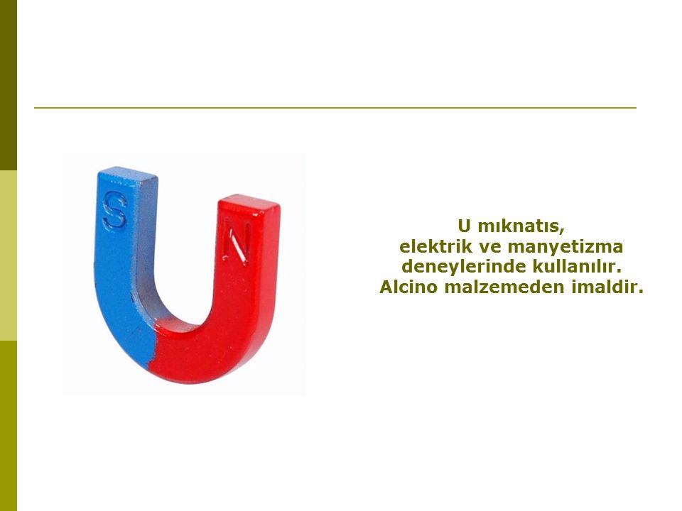 U mıknatıs, elektrik ve manyetizma deneylerinde kullanılır. Alcino malzemeden imaldir.