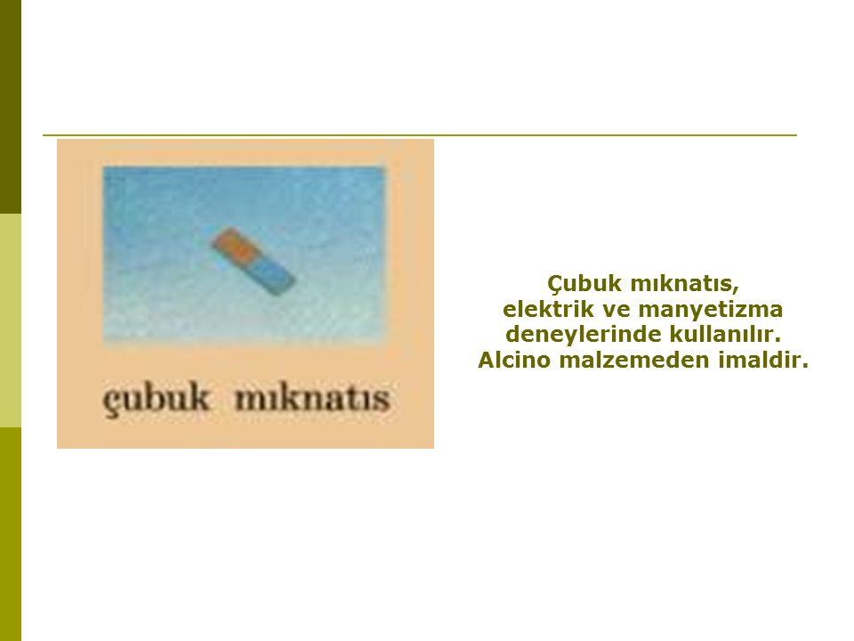 Çubuk mıknatıs, elektrik ve manyetizma deneylerinde kullanılır. Alcino malzemeden imaldir.