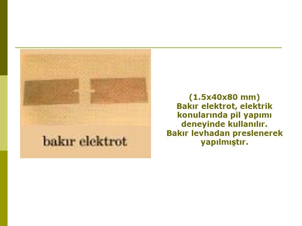 (1.5x40x80 mm) Bakır elektrot, elektrik konularında pil yapımı deneyinde kullanılır.