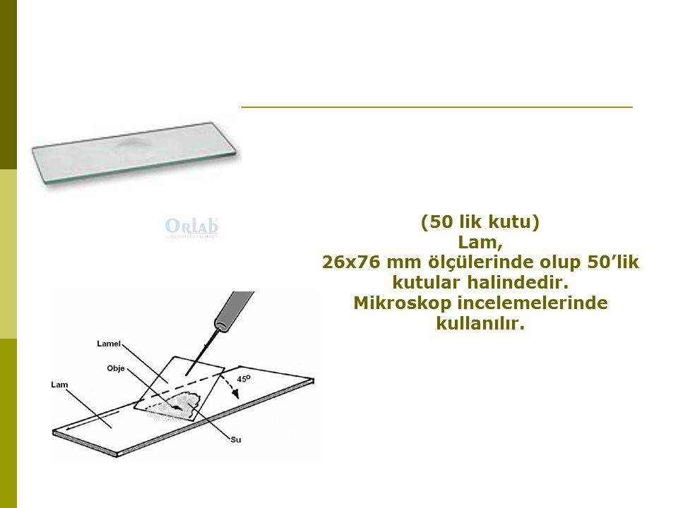 (50 lik kutu) Lam, 26x76 mm ölçülerinde olup 50'lik kutular halindedir.