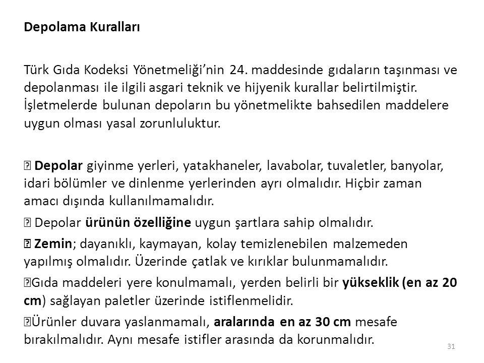Depolama Kuralları Türk Gıda Kodeksi Yönetmeliği'nin 24.