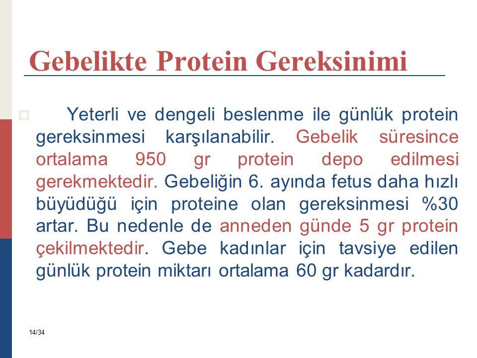Gebelikte Protein Gereksinimi  Yeterli ve dengeli beslenme ile günlük protein gereksinmesi karşılanabilir. Gebelik süresince ortalama 950 gr protein