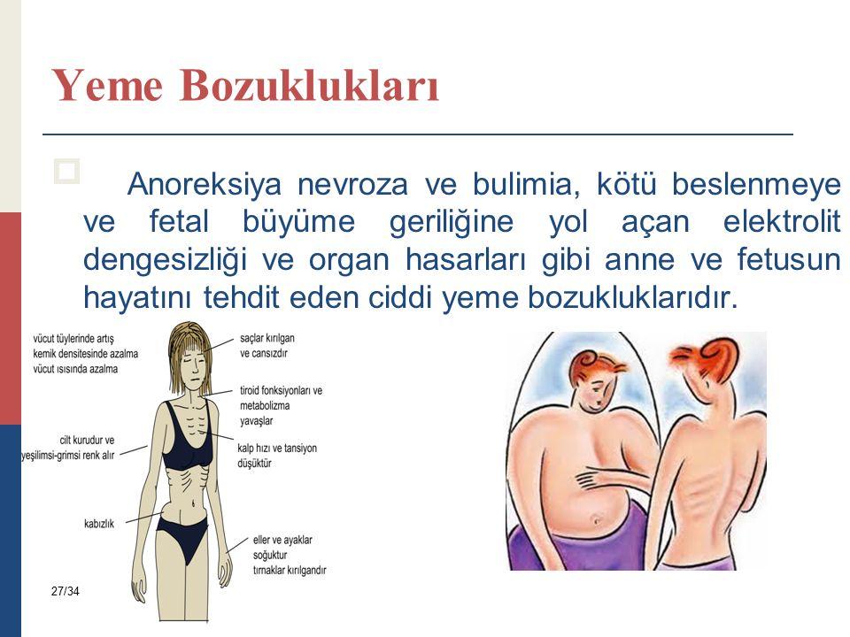 Yeme Bozuklukları  Anoreksiya nevroza ve bulimia, kötü beslenmeye ve fetal büyüme geriliğine yol açan elektrolit dengesizliği ve organ hasarları gibi