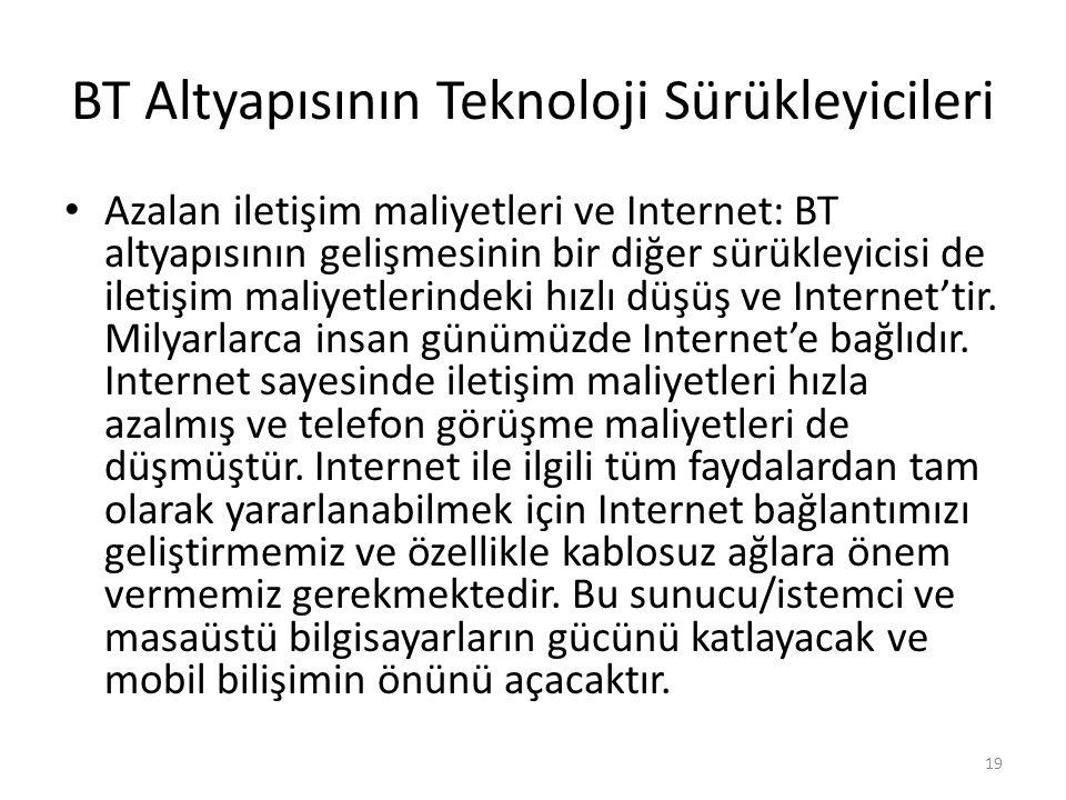 BT Altyapısının Teknoloji Sürükleyicileri Azalan iletişim maliyetleri ve Internet: BT altyapısının gelişmesinin bir diğer sürükleyicisi de iletişim ma