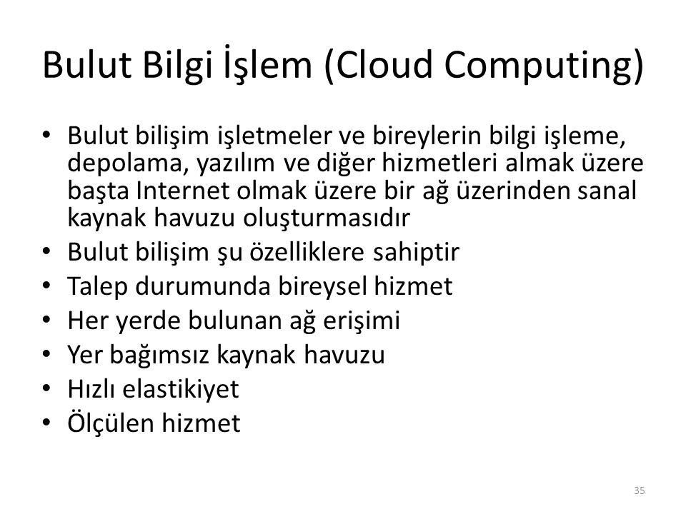 Bulut Bilgi İşlem (Cloud Computing) Bulut bilişim işletmeler ve bireylerin bilgi işleme, depolama, yazılım ve diğer hizmetleri almak üzere başta Inter