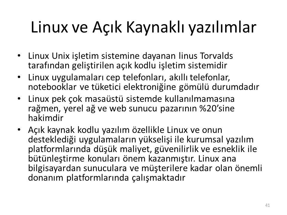 Linux ve Açık Kaynaklı yazılımlar Linux Unix işletim sistemine dayanan linus Torvalds tarafından geliştirilen açık kodlu işletim sistemidir Linux uygu