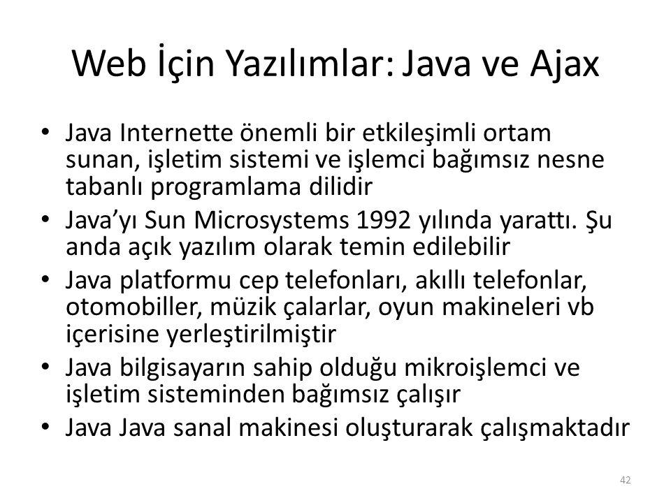 Web İçin Yazılımlar: Java ve Ajax Java Internette önemli bir etkileşimli ortam sunan, işletim sistemi ve işlemci bağımsız nesne tabanlı programlama di