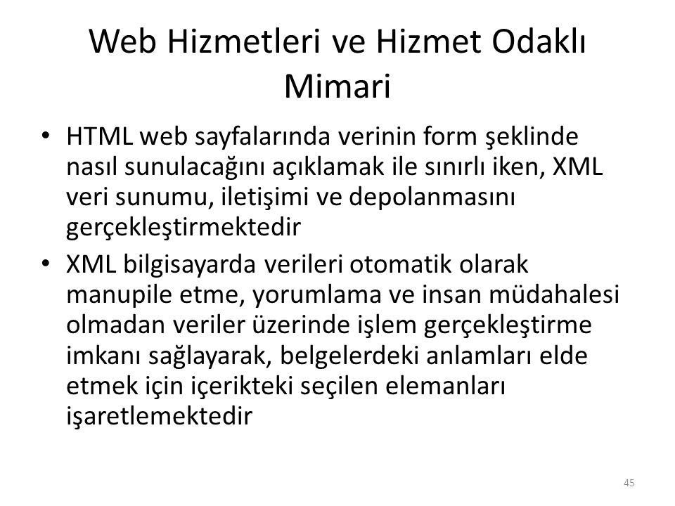 Web Hizmetleri ve Hizmet Odaklı Mimari HTML web sayfalarında verinin form şeklinde nasıl sunulacağını açıklamak ile sınırlı iken, XML veri sunumu, ile