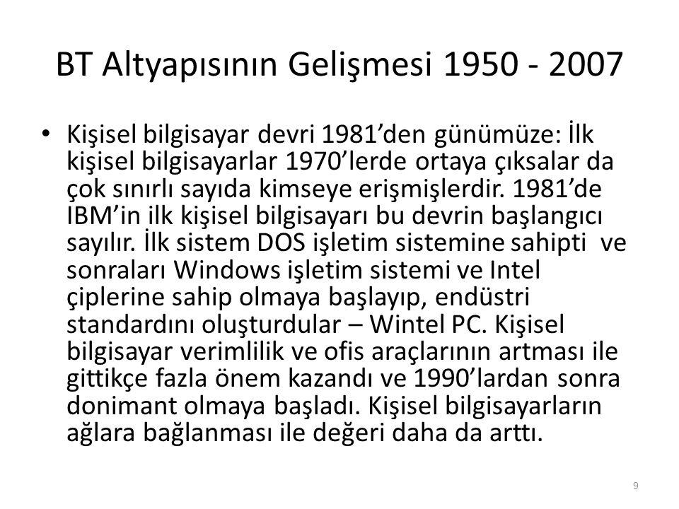 BT Altyapısının Gelişmesi 1950 - 2007 Kişisel bilgisayar devri 1981'den günümüze: İlk kişisel bilgisayarlar 1970'lerde ortaya çıksalar da çok sınırlı