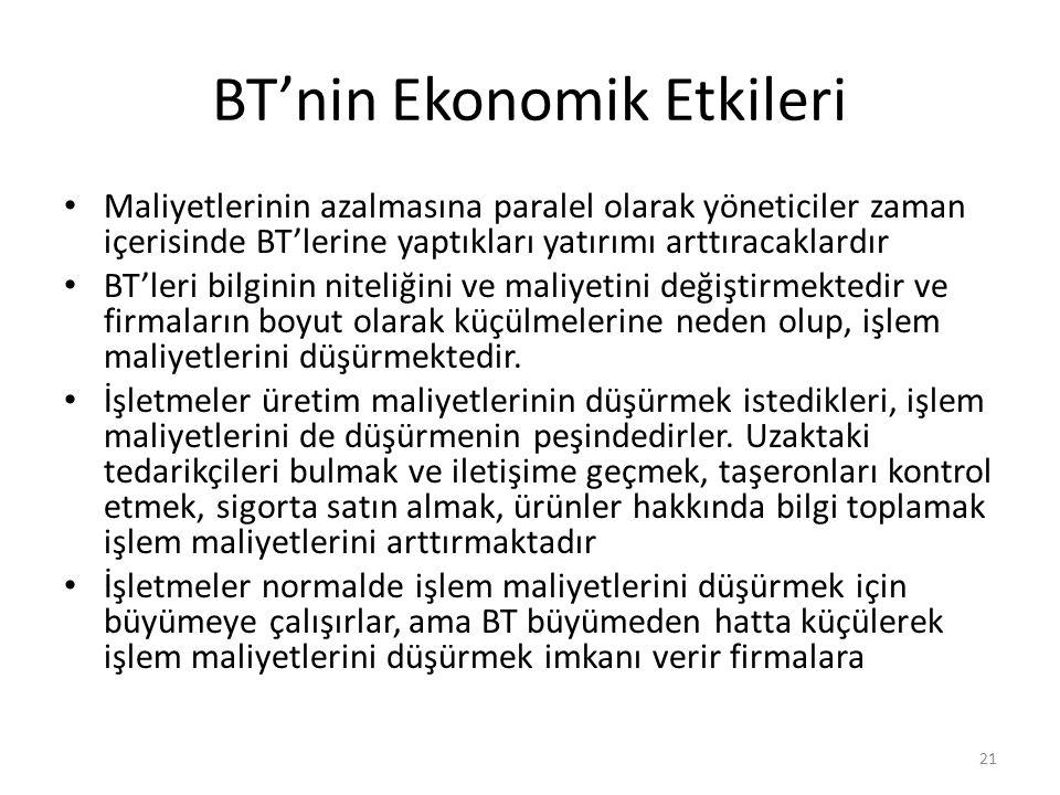 BT'nin Ekonomik Etkileri Maliyetlerinin azalmasına paralel olarak yöneticiler zaman içerisinde BT'lerine yaptıkları yatırımı arttıracaklardır BT'leri
