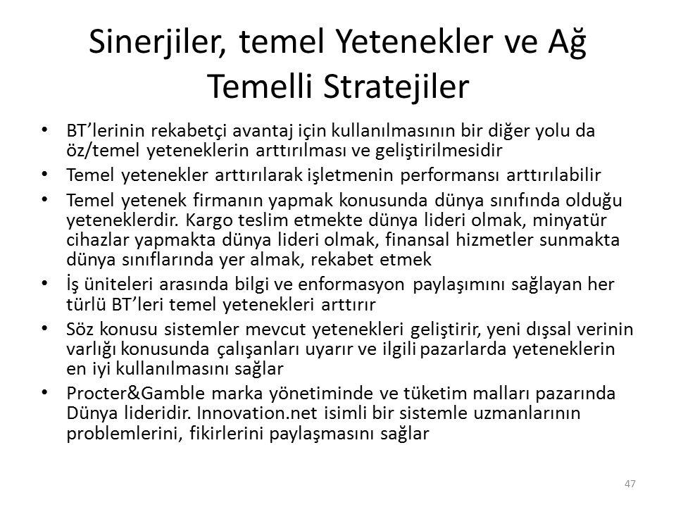 Sinerjiler, temel Yetenekler ve Ağ Temelli Stratejiler BT'lerinin rekabetçi avantaj için kullanılmasının bir diğer yolu da öz/temel yeteneklerin arttı