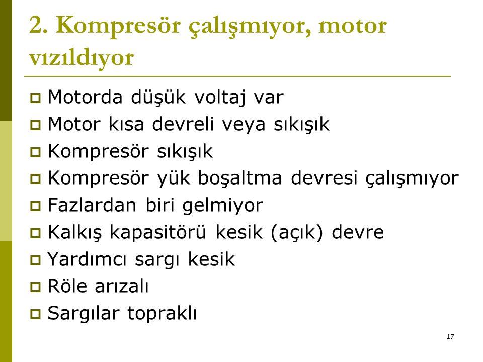 16 1. Kompresör çalışmıyor  Kontrol devresi açık  Motora enerji gelmiyor  Motor kısa devreli veya sıkışık  Motor sargıları yanık  Yağ basıncı mot