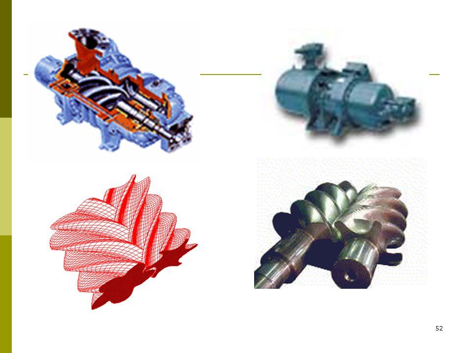 51 VİDALI (HELİSEL) KOMPRESÖRLER Bu tip kompresörler vida dişine benzeyen ikiz çalışan helisel rotor grubuna sahiptir. Vidalardan biri loblara (diş çı