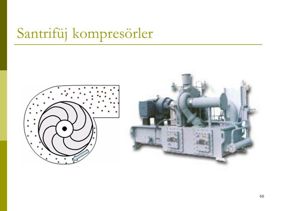 65 SANTRİFÜJ KOMPRESÖRLER Bu tip kompresör genellikle büyük klima santrallerinde kullanılır. Açık ve yarı hermetik tipleri mevcuttur ve soğuk su üreti