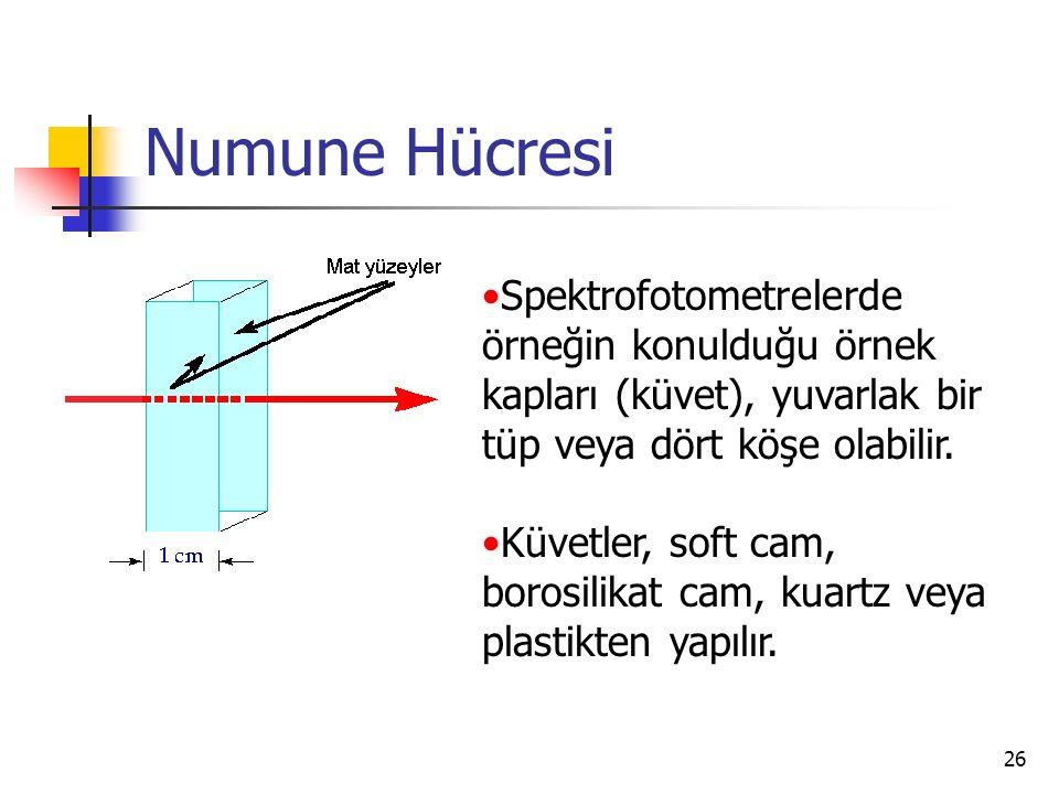 26 Numune Hücresi Spektrofotometrelerde örneğin konulduğu örnek kapları (küvet), yuvarlak bir tüp veya dört köşe olabilir. Küvetler, soft cam, borosil