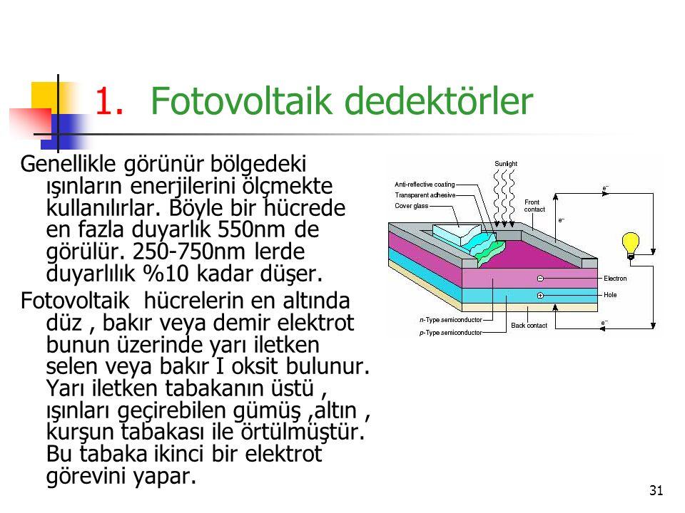 31 1.Fotovoltaik dedektörler Genellikle görünür bölgedeki ışınların enerjilerini ölçmekte kullanılırlar. Böyle bir hücrede en fazla duyarlık 550nm de