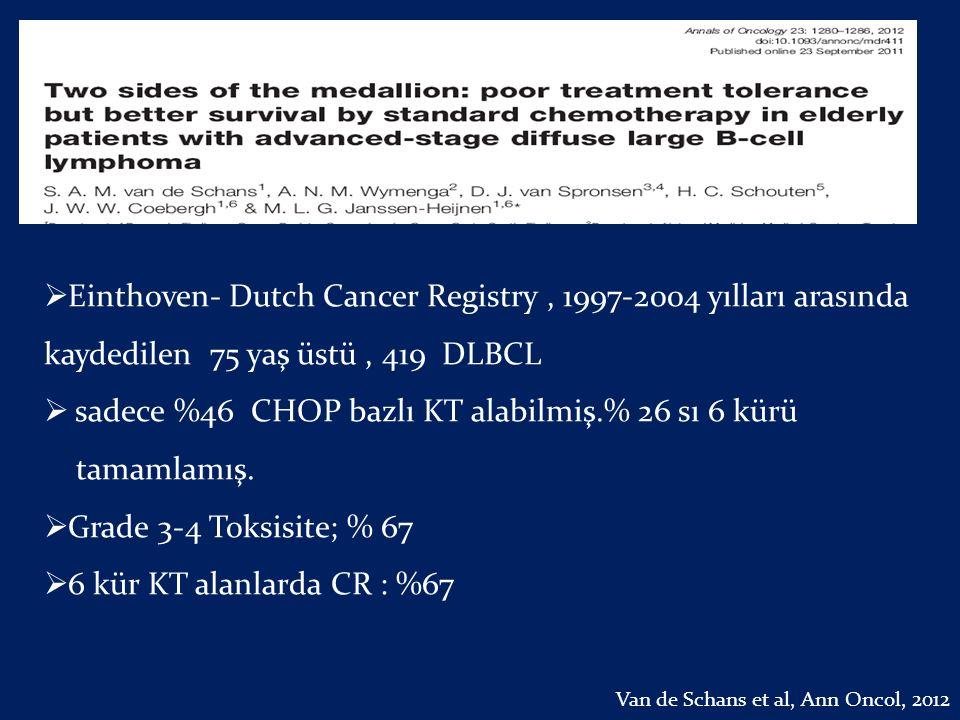  Einthoven- Dutch Cancer Registry, 1997-2004 yılları arasında kaydedilen 75 yaş üstü, 419 DLBCL  sadece %46 CHOP bazlı KT alabilmiş.% 26 sı 6 kürü t